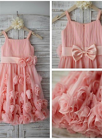 Straps A-Line/Princess Flower Girl Dresses Chiffon/Tulle Flower(s)/Bow(s) Sleeveless Tea-length