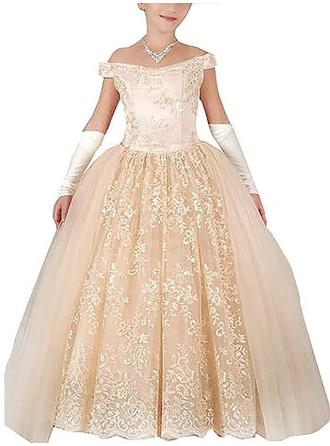 Flattering Floor-length Ball Gown Flower Girl Dresses Off-the-Shoulder Tulle Sleeveless