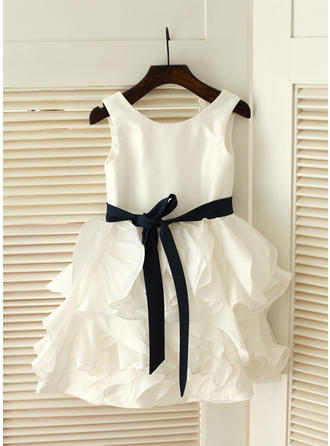 Ball Gown Knee-length Flower Girl Dress - Taffeta Sleeveless Scoop Neck With Ruffles/Sash