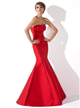 Trumpet/Mermaid Sweetheart Floor-Length Evening Dresses With Ruffle Beading