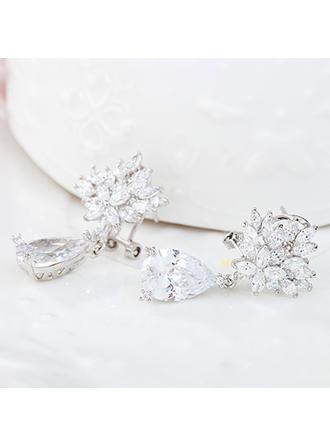 Earrings Alloy/Zircon Pierced Ladies' Simple Wedding & Party Jewelry