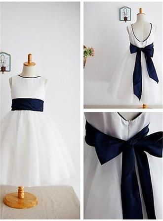 Princess Ankle-length A-Line/Princess Flower Girl Dresses Scoop Neck Tulle Sleeveless