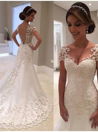 V-neck Trumpet/Mermaid Wedding Dresses Tulle Lace Short Sleeves Court Train (002218072)