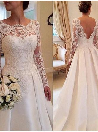 Sweetheart Satin Lace Wedding Dresses Ball-Gown Court Train Scoop Long Sleeves