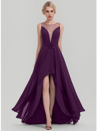 A-Line Scoop Neck Asymmetrical Chiffon Evening Dress With Sequins Bow(s)