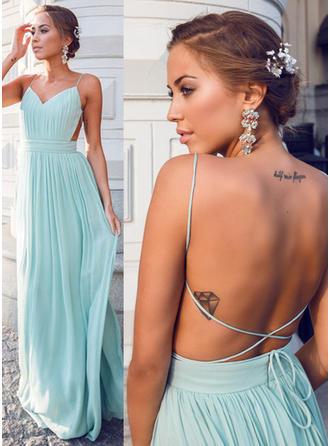 A-Line/Princess V-neck Floor-Length Prom Dress With Ruffle
