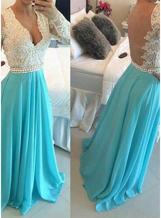Long Sleeves A-Line/Princess Prom Dresses V-neck Beading Floor-Length