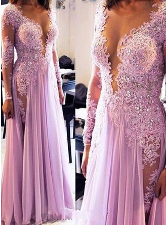 A-Line/Princess V-neck Floor-Length Evening Dress With Beading Sequins