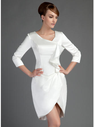 Charmeuse 3/4 Sleeves Mother of the Bride Dresses Sheath/Column Cascading Ruffles Short/Mini