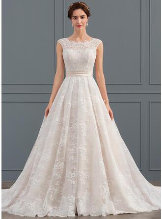 Balklänning Rund-urringning Chapel släp Spets Bröllopsklänning med Rufsar