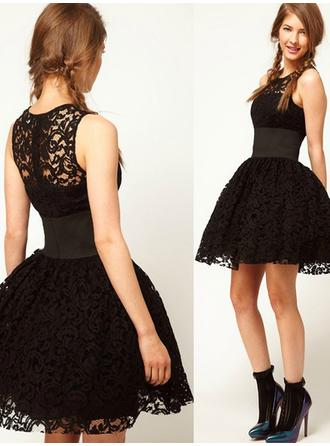 High Neck Short/Mini Cocktail Dresses With Lace