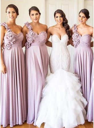 A-Line/Princess Chiffon Bridesmaid Dresses Ruffle One-Shoulder Sleeveless Floor-Length