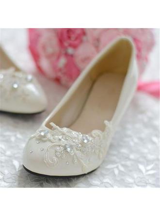 Frauen Geschlossene Zehe Absatzschuhe Stöckel Absatz Kunstleder mit Strass Blume Brautschuhe
