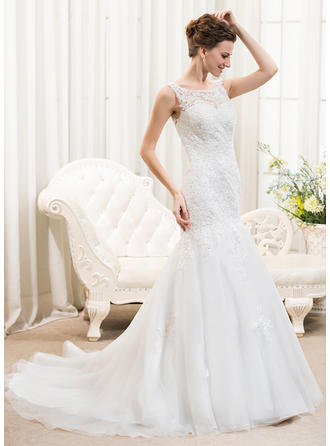 Elegant Court Train Trumpet/Mermaid Wedding Dresses Scoop Tulle Lace Sleeveless