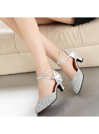 Women's Ballroom Heels Leatherette Sparkling Glitter Dance Shoes (053181168)