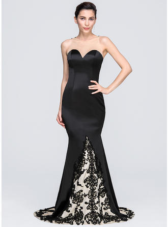 Trumpet/Mermaid Scoop Neck Satin Sleeveless Chapel Train Appliques Lace Evening Dresses