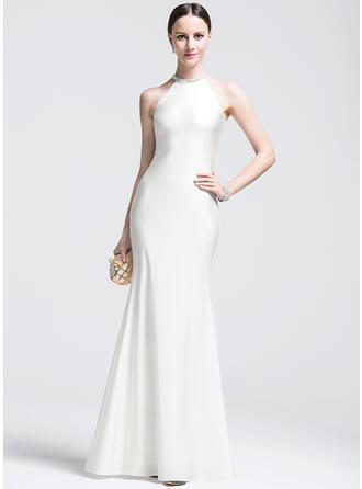 Trumpet/Mermaid Scoop Neck Floor-Length Jersey Evening Dress With Beading