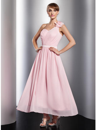 A-Line/Princess One-Shoulder Ankle-Length Chiffon Prom Dress With Ruffle Flower(s)