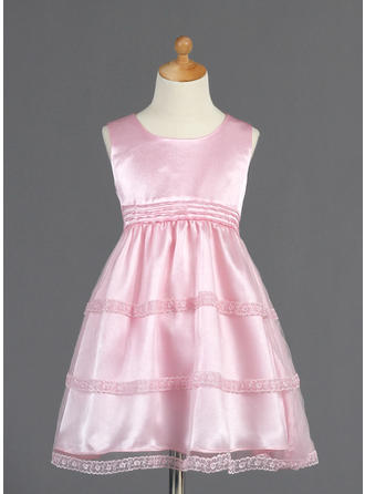 Magnificent Knee-length A-Line/Princess Flower Girl Dresses Scoop Neck Tulle/Charmeuse Sleeveless (010014661)