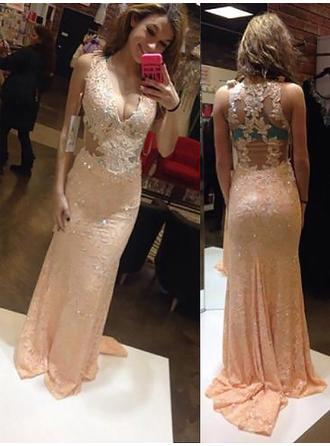 Silk Like Satin Sleeveless Sheath/Column Prom Dresses V-neck Appliques Sweep Train
