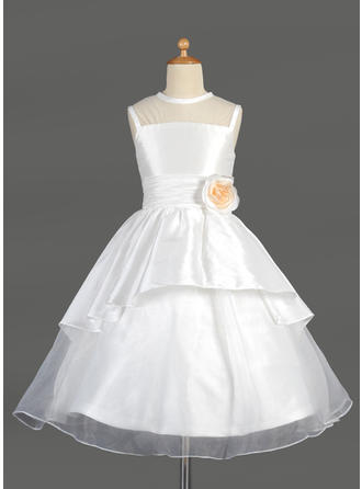 A-Line/Princess Scoop Neck Tea-length With Lace/Flower(s) Taffeta/Organza Flower Girl Dress