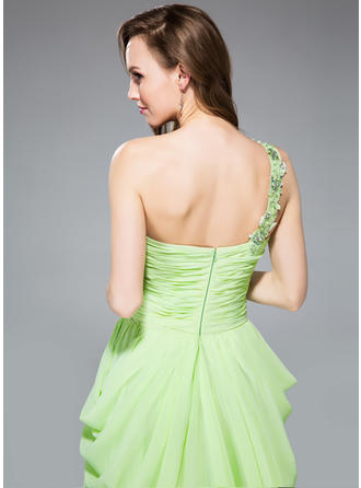 Chiffon Regular Straps One-Shoulder Sheath/Column Prom Dresses