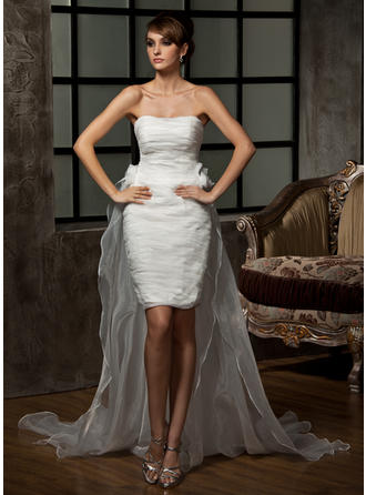 Sheath/Column Sweetheart Asymmetrical Detachable Wedding Dresses With Ruffle Flower(s)