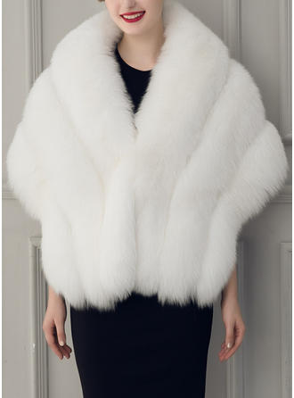 Wrap Fashion Faux Fur Half-Sleeve With Bow Wraps (013147286)