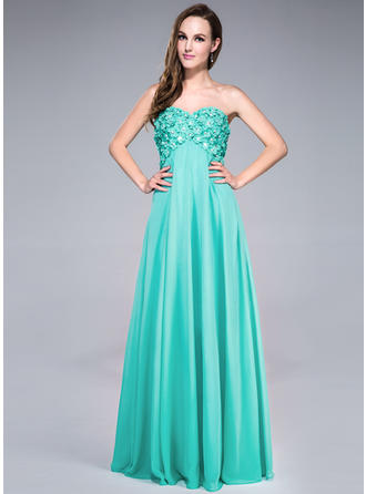 Chiffon Sleeveless Empire Prom Dresses Sweetheart Beading Flower(s) Sequins Floor-Length