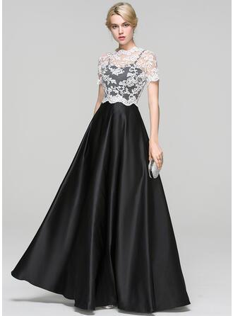 Ball-Gown Sweetheart Floor-Length Satin Evening Dress