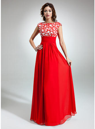 A-Line/Princess Scoop Neck Floor-Length Chiffon Prom Dress With Ruffle Lace