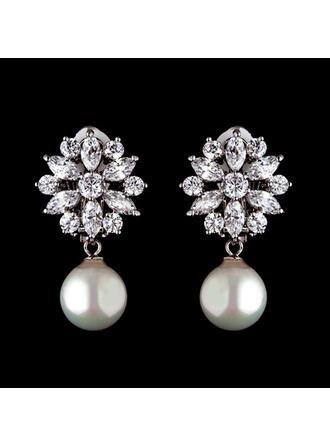 Earrings Pearl/Zircon Pierced Ladies' Beautiful Wedding & Party Jewelry