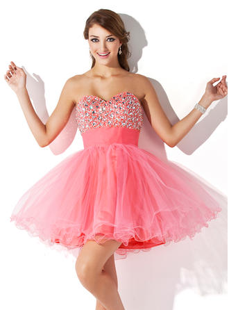 A-Line/Princess Sweetheart Short/Mini Tulle Homecoming Dresses With Ruffle Beading