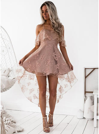 A-Line/Princess Square Neckline Asymmetrical Satin Homecoming Dresses With Lace