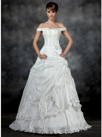Ruffle Beading Appliques Crystal Brooch Sleeveless Off-The-Shoulder Taffeta Ball-Gown Wedding Dresses