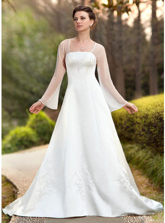 Fashion Chapel Train A-Line/Princess Wedding Dresses Square Chiffon Satin Long Sleeves