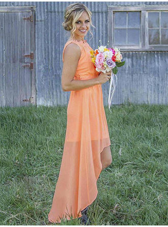 Chiffon Sleeveless A-Line/Princess Bridesmaid Dresses Scoop Neck Ruffle Asymmetrical