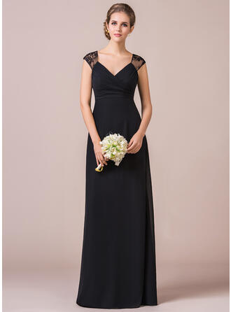 Empire V-neck Floor-Length Chiffon Lace Bridesmaid Dress With Ruffle