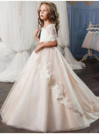 Ball Gown Off-the-Shoulder Sweep Train With Sash/Appliques Tulle/Lace Flower Girl Dresses