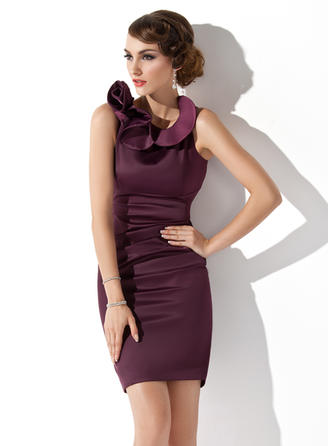Glamorous Scoop Neck Sheath/Column Satin Mother of the Bride Dresses