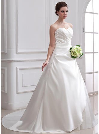 Satin Strapless Chapel Train Flattering Wedding Dresses