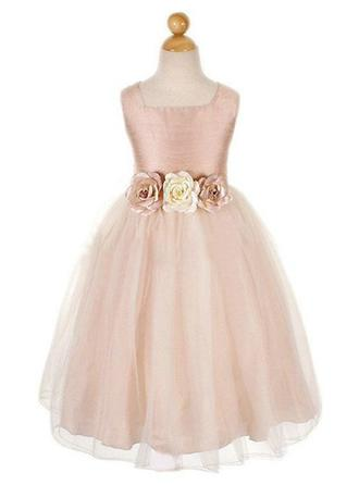 A-Line/Princess Square Neckline Ankle-length With Flower(s) Taffeta/Tulle Flower Girl Dress (010146797)