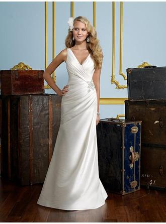Sheath/Column V-neck Sweep Train Wedding Dresses With Ruffle Beading