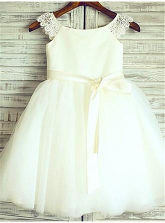 Stunning Knee-length A-Line/Princess Flower Girl Dresses Scoop Neck Satin/Tulle Sleeveless
