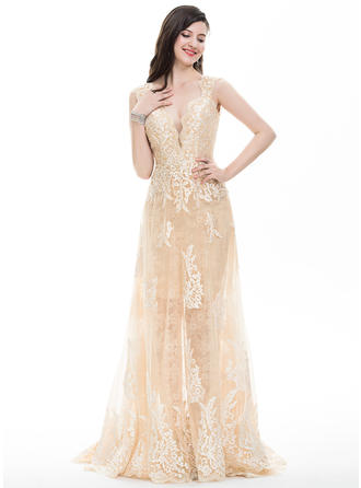 Luxurious With Sheath/Column Tulle Prom Dresses
