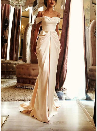 Simple Sweep Train Sheath/Column Wedding Dresses Off-The-Shoulder Satin Sleeveless (002146932)