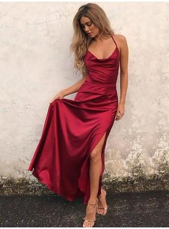 A-Line/Princess Cowl Neck Silk Like Satin Sleeveless Floor-Length Evening Dresses