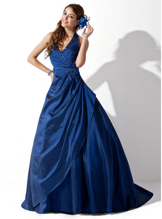 Sleeveless Ball-Gown Prom Dresses Halter Ruffle Beading Sweep Train
