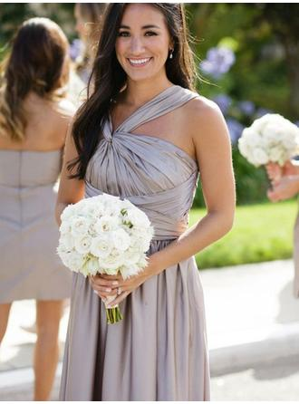 A-Line/Princess Halter Floor-Length Bridesmaid Dresses With Ruffle