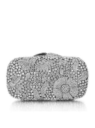 Bridal Purse/Luxury Clutches Wedding/Ceremony & Party Crystal/ Rhinestone/Silver Plated Magnetic Closure Elegant Clutches & Evening Bags